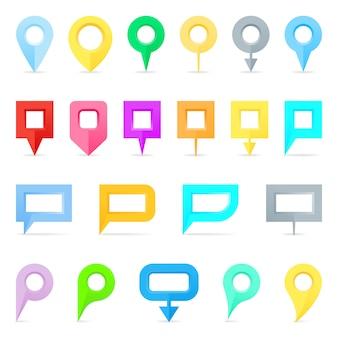 Kaartspelden in kleuren, rood, groen en blauw, geel. illustratie.