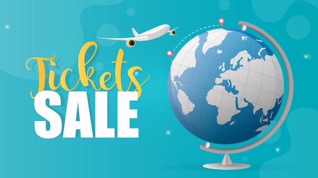 Kaartverkoop. blauwe banner. het vliegtuig vliegt van punt a naar punt b. blauwe bol. goed voor de verkoop van vliegtickets. vector.