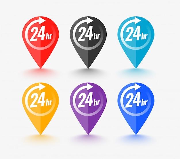 Kaartwijzer met 24-uurs service-symbool