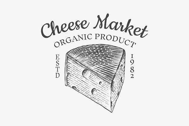 Kaas badge. vintage logo voor markt of supermarkt. verse biologische melk.