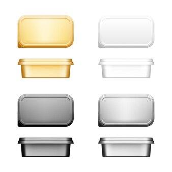 Kaas-, boter- of margarinecontainer met dekselmodelset - voor- en bovenaanzicht.