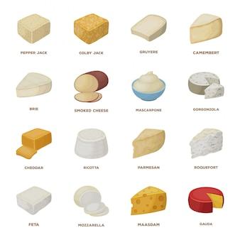 Kaas eten cartoon ingesteld pictogram. gezond en melksnack. geïsoleerde cartoon set pictogram kaas eten.