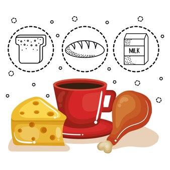 Kaas, koffie en kippendij met hand getrokken voedselstickers over witte achtergrond. vector illustr
