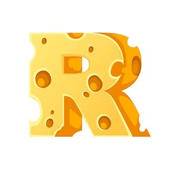 Kaas letter r stijl cartoon voedsel ontwerp platte vectorillustratie geïsoleerd op een witte achtergrond.