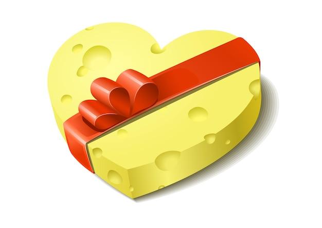 Kaas met cadeau lint en boog creatieve valentijnsdag geschenk