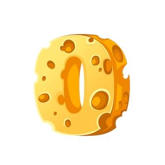 Kaas nummer 0 stijl cartoon voedsel ontwerp platte vectorillustratie geïsoleerd op een witte achtergrond.