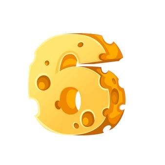 Kaas nummer 6 stijl cartoon voedsel ontwerp platte vectorillustratie geïsoleerd op een witte achtergrond.