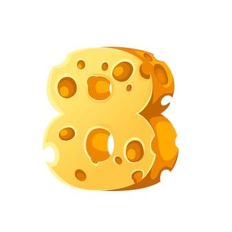 Kaas nummer 8 stijl cartoon voedsel ontwerp platte vectorillustratie geïsoleerd op een witte achtergrond.