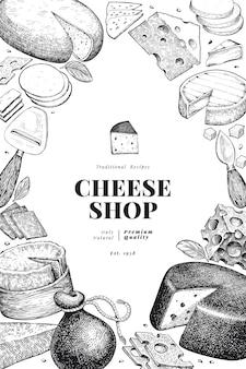 Kaas ontwerpsjabloon. hand getekend zuivel illustratie. gegraveerde stijl verschillende kaassoorten banner. vintage voedsel achtergrond.
