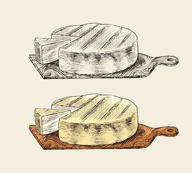 Kaas op het bord voor de markt of kruidenierswinkel.