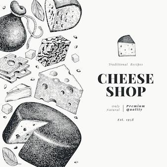 Kaas sjabloon. hand getekend zuivel illustratie. gegraveerde stijl verschillende kaassoorten banner. vintage voedsel achtergrond.