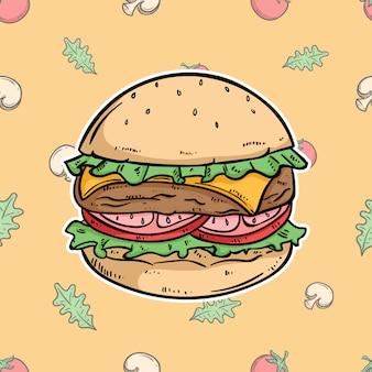 Kaasburger met gekleurde hand getrokken stijl op plantaardig patroon