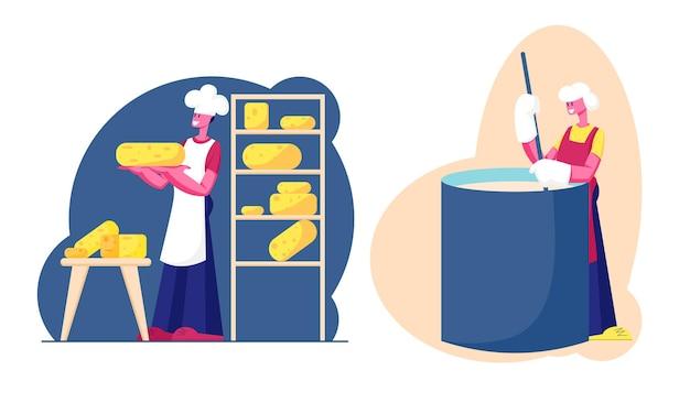Kaasfabriek, zuivelproductie-industrie. werknemer mengen van verse melk in de creamery of enorme mixer, cartoon vlakke afbeelding
