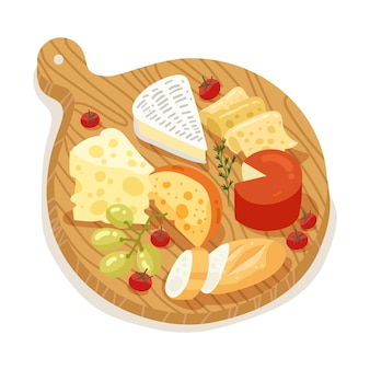 Kaasmaaltijd op een houten bord
