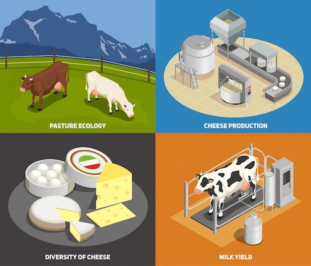 Kaasproductie concept set weiland melkopbrengst productie diversiteit van kaas vierkante pictogrammen isometrisch