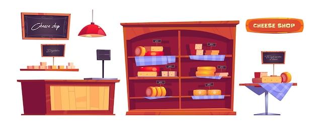 Kaaswinkelproducten en interieurspullen, winkel met variëteiten van zuivelproducten of melkachtige productie in de schappen