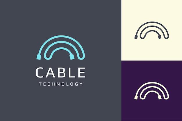 Kabel- of draadlogo in eenvoudige en moderne vorm