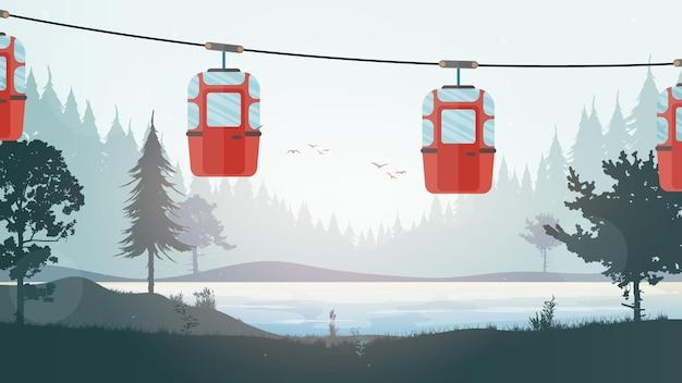 Kabelbaan met aanhangers in het bos. bos met een rivier. tekenfilm