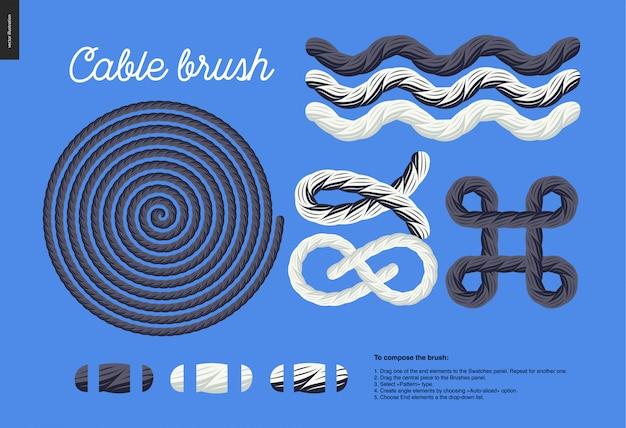 Kabelborstel - vectorborstel met touwelement met eindelementen en enkele gebruiksvoorbeelden - knopen, lussen, frames.