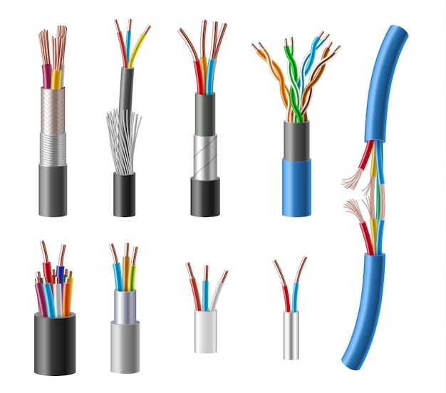 Kabels en draden realistische set.
