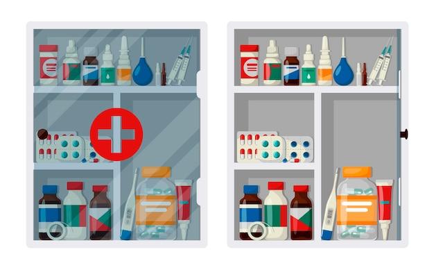 Kabinet ehbo-kit met open en gesloten deur. lege en volle medische kast
