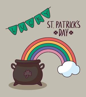 Kabouterketel met regenboog van st patrick dag