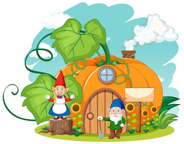 Kabouters en pompoen huis cartoon stijl op sky