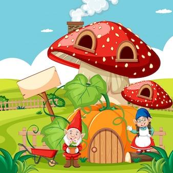 Kabouters en pompoen paddestoel huis en in de tuin cartoon stijl op tuin achtergrond