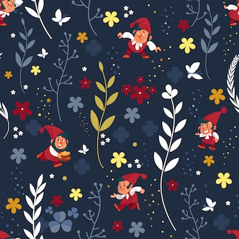 Kabouters naadloos patroon. dwerg elf karakter vormt magische kabouter schattig sprookje man