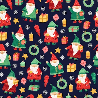 Kabouters patroon. kerstvakantie, schattige kerst elf naadloze textuur. cartoon grappige dwerg, kinderen seizoen sprookjesachtige vector achtergrond. naadloos patroon als achtergrond, karakterkerstmisillustratie