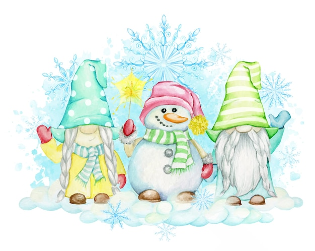 Kabouters, sneeuwpop, sneeuwvlokken, sneeuw, vuurwerk. kerst clipart, geschilderd in aquarel.