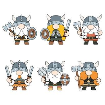 Kabouters viking gevuld overzicht clipart, grafisch