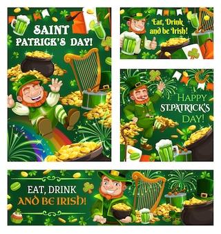 Kaboutertrucs en streken op st. patricks day en symbolen van de ierse religie