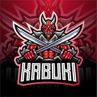 Kabuki esport mascotte logo ontwerp