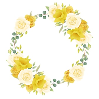 Kaderachtergrond bloemen met rozen en gele narcissen