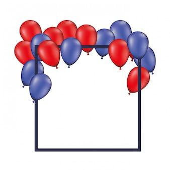 Kaderachtergrond met rode en blauwe geïsoleerde ballons