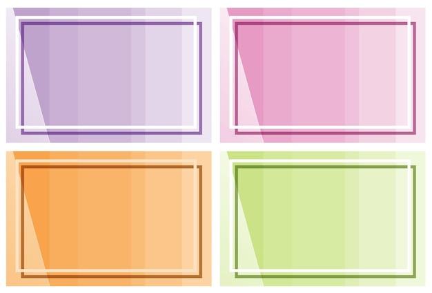 Kadersjabloon met achtergronden in verschillende kleuren