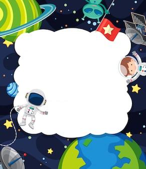 Kadersjabloon met astronaut die op de ruimteachtergrond vliegt