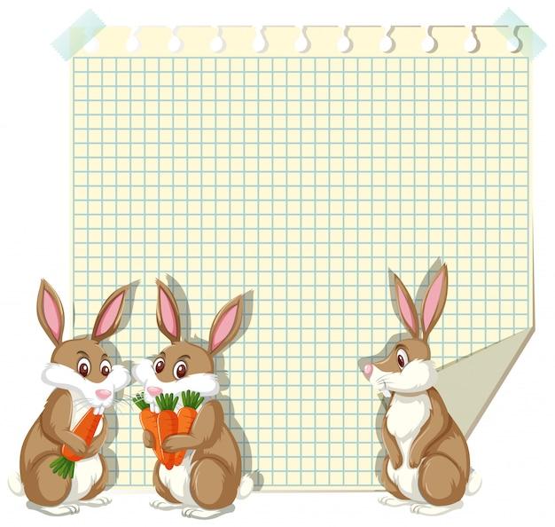 Kadersjabloon met drie konijntjes