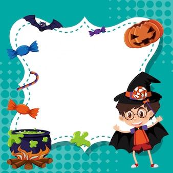 Kadersjabloon met jongen in halloween-kostuum