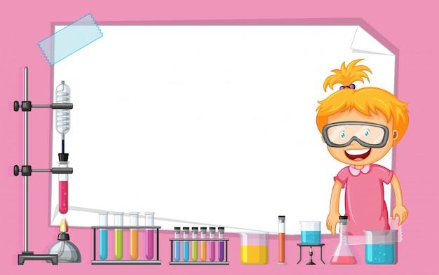 Kadersjabloon met meisje die in wetenschapslaboratorium werken