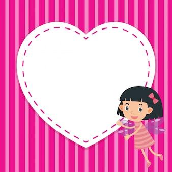 Kadersjabloon met meisje en hart