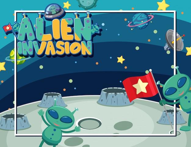 Kadersjabloon met twee aliens in de ruimte