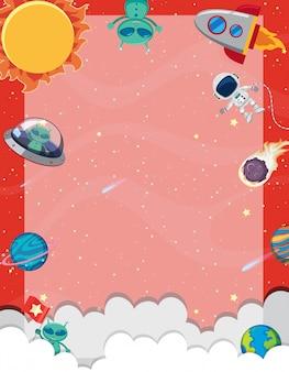 Kadersjabloon met veel planeten op de ruimteachtergrond