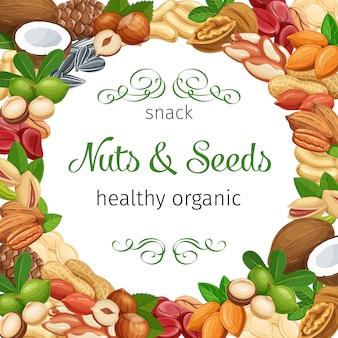 Kadersjabloon voor spandoek met noten en zaden. kolanoot, pompoenpitten, pinda en zonnebloempitten. pistache, cashew, kokos, hazelnoot en macadamia. illustratie.