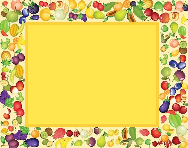 Kadersjabloonontwerp met gemengd tropisch fruit