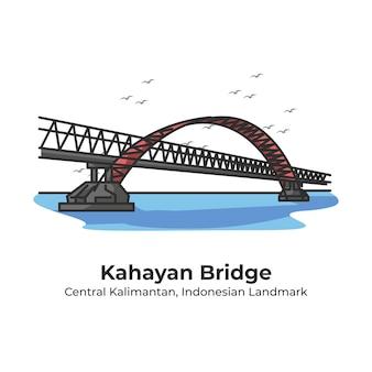 Kahayan bridge indonesische oriëntatiepunt leuke lijn illustratie