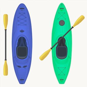 Kajak en peddel. kajakken watersport, outdooractiviteiten.