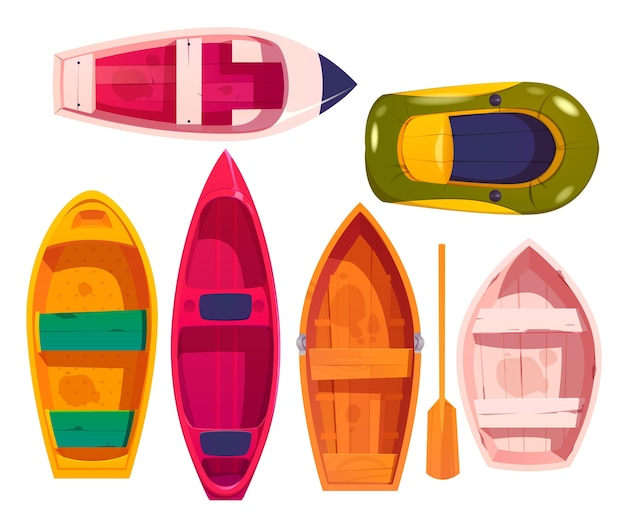 Kajak kano ontwerp illustratie set