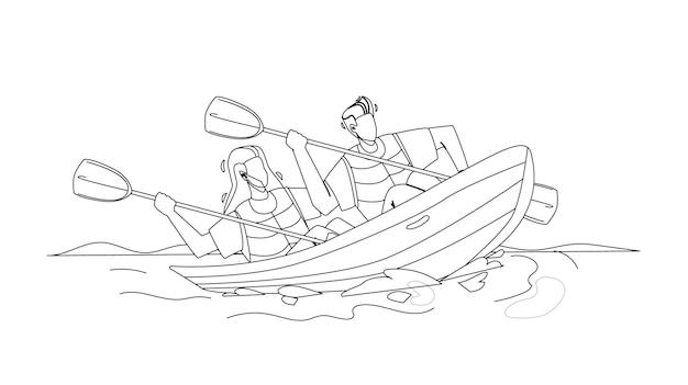 Kajak reizend paar mensen samen zwarte lijn potloodtekening vector. jonge man en vrouw sportmannen met peddels in kajak op rivier. karakters kajakken actieve extreme sport tijd illustratie